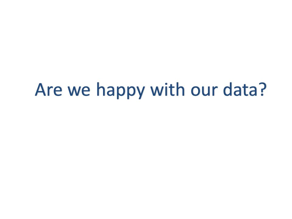 Are we happy with our data Are we happy with our data