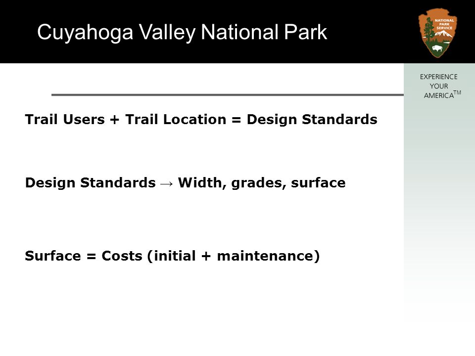 Cuyahoga Valley National Park TM Trail Users Surface Width Grades Trailheads Trail amenities