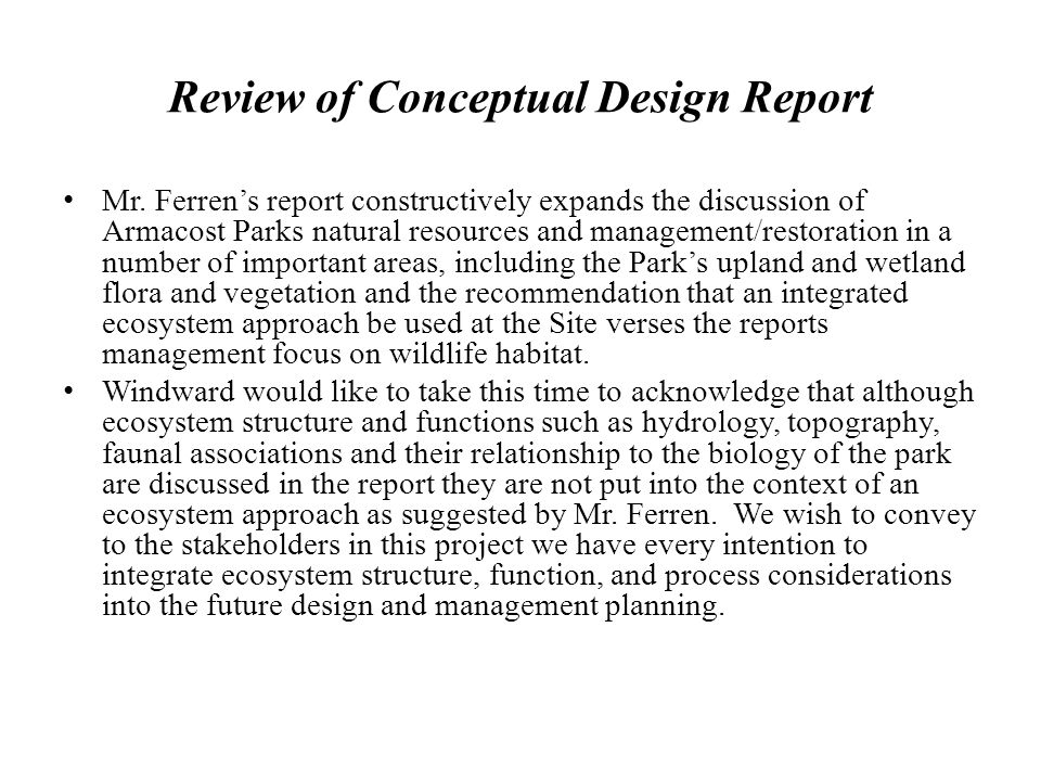 Review of Conceptual Design Report Mr.
