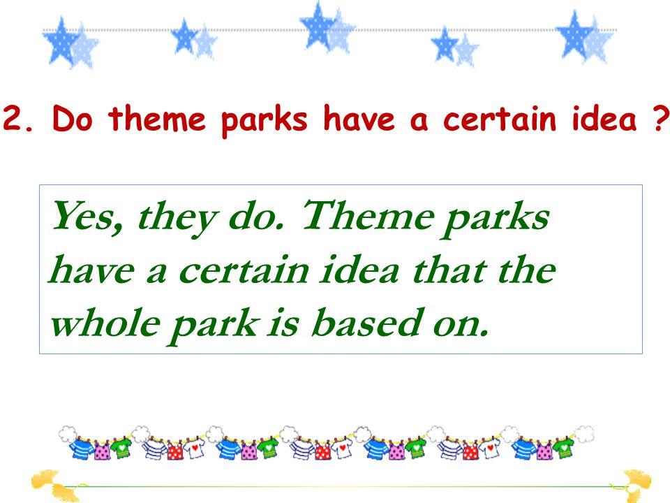 1.What do parks provide people with ? Parks provide people with a place to amuse themselves and to escape their busy lives for a while. Detailed Readi