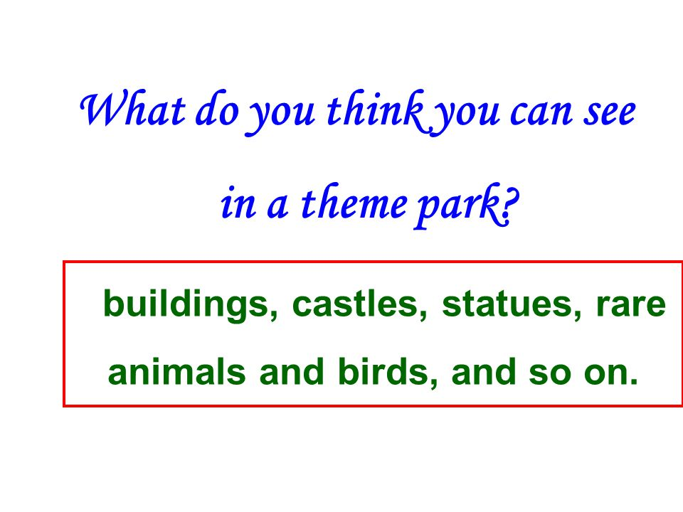 What do you think you can see in a theme park.