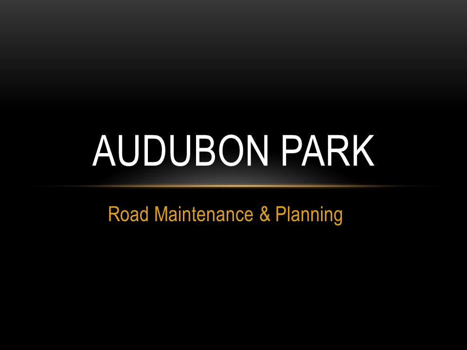 Road Maintenance & Planning AUDUBON PARK