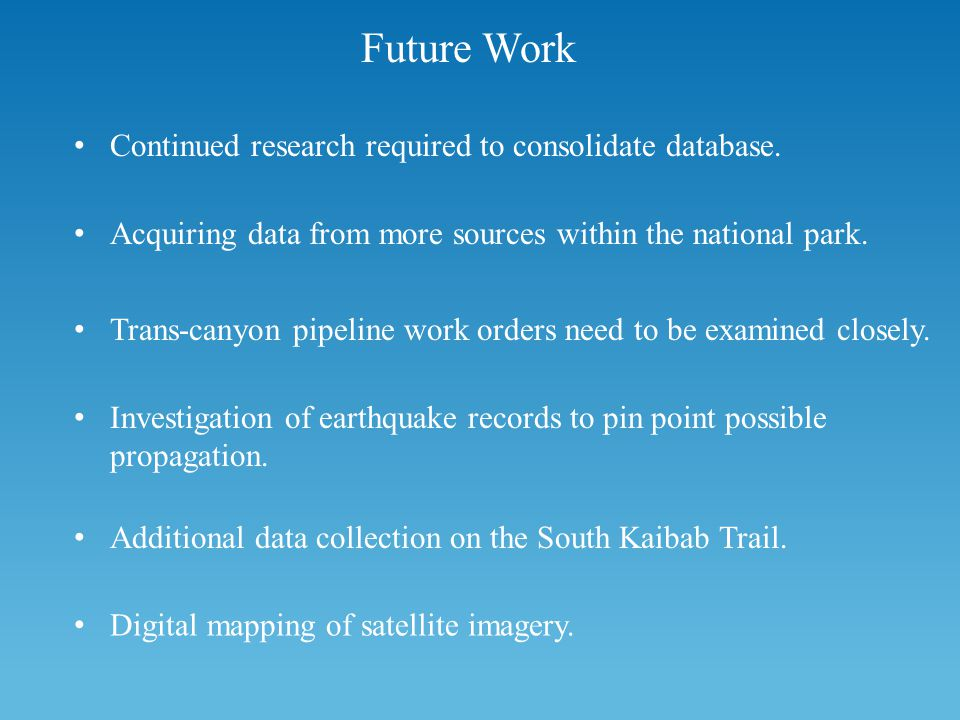 Future Work Continued research required to consolidate database.