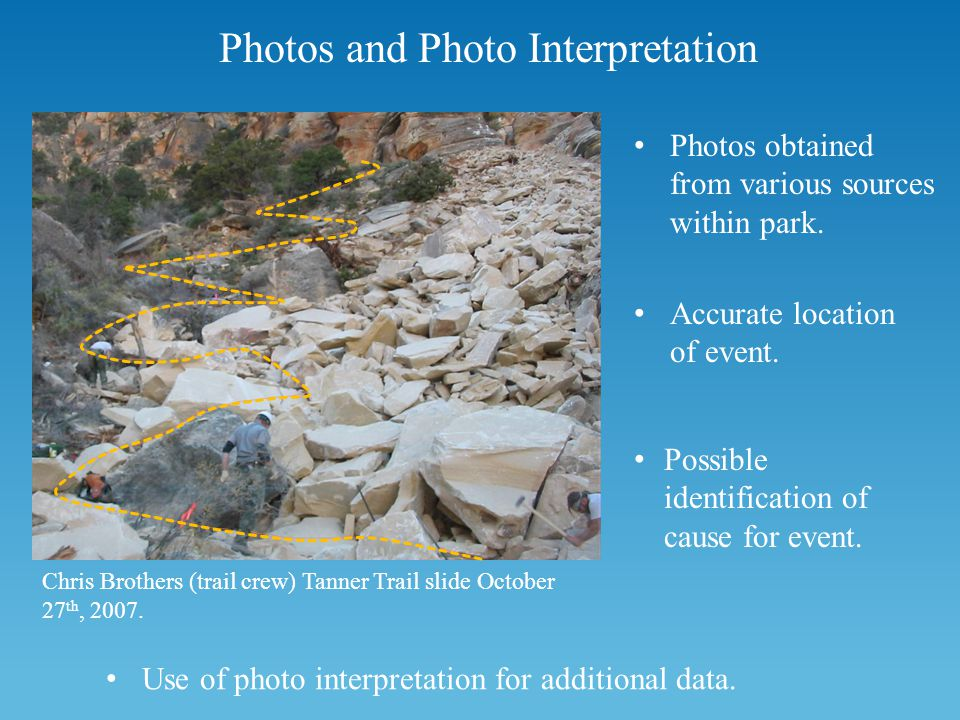 Photos and Photo Interpretation Photos obtained from various sources within park.