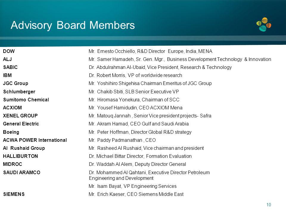 10 Advisory Board Members DOW Mr. Ernesto Occhiello, R&D Director Europe, India, MENA ALJ Mr. Samer Hamadeh, Sr. Gen. Mgr., Business Development Techn