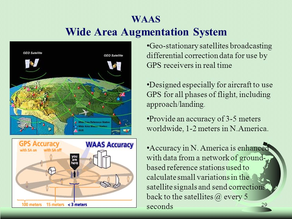 29 WAAS Wide Area Augmentation System Geo-stationary satellites broadcasting differential correction data for use by GPS receivers in real time Design