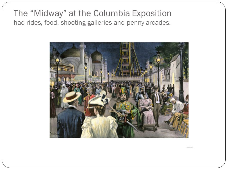 The Midway at the Columbia Exposition had rides, food, shooting galleries and penny arcades.