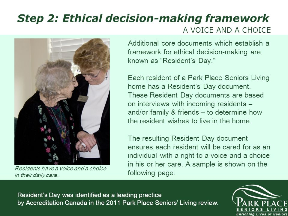 Additional core documents which establish a framework for ethical decision-making are known as Residents Day. Each resident of a Park Place Seniors Li