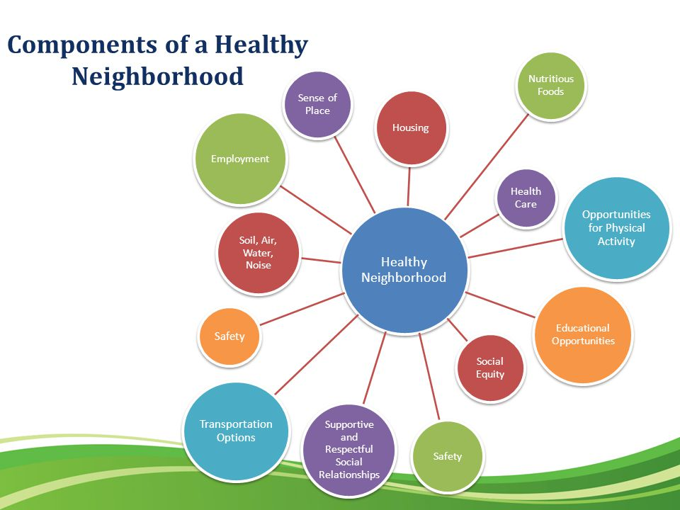 Components of a Healthy Neighborhood Healthy Neighborhood Housing Nutritious Foods Health Care Opportunities for Physical Activity Educational Opportunities Social Equity Safety Supportive and Respectful Social Relationships Transportation Options Safety Soil, Air, Water, Noise Employment Sense of Place