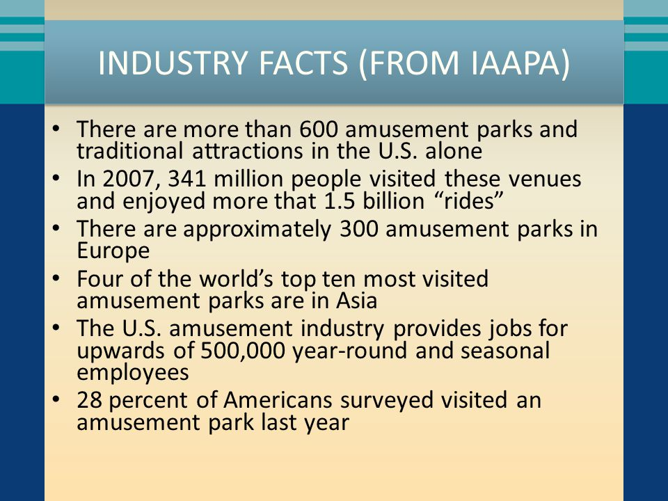 INDUSTRY FACTS (FROM IAAPA) There are more than 600 amusement parks and traditional attractions in the U.S. alone In 2007, 341 million people visited