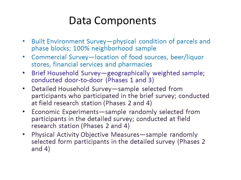 Data Components Built Environment Surveyphysical condition of parcels and phase blocks; 100% neighborhood sample Commercial Surveylocation of food sources, beer/liquor stores, financial services and pharmacies Brief Household Surveygeographically weighted sample; conducted door-to-door (Phases 1 and 3) Detailed Household Surveysample selected from participants who participated in the brief survey; conducted at field research station (Phases 2 and 4) Economic Experimentssample randomly selected from participants in the detailed survey; conducted at field research station (Phases 2 and 4) Physical Activity Objective Measuressample randomly selected form participants in the detailed survey (Phases 2 and 4)