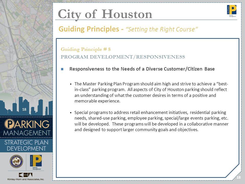 18 Guiding Principle # 8 PROGRAM DEVELOPMENT/RESPONSIVENESS Responsiveness to the Needs of a Diverse Customer/Citizen Base The Master Parking Plan Pro