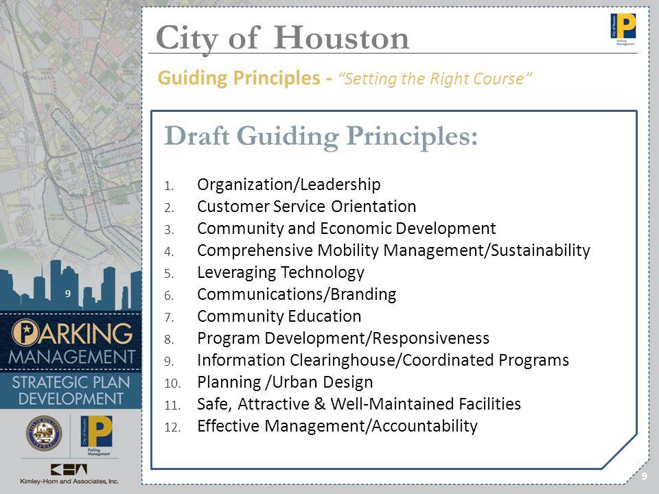 9 Draft Guiding Principles: 1. Organization/Leadership 2. Customer Service Orientation 3. Community and Economic Development 4. Comprehensive Mobility