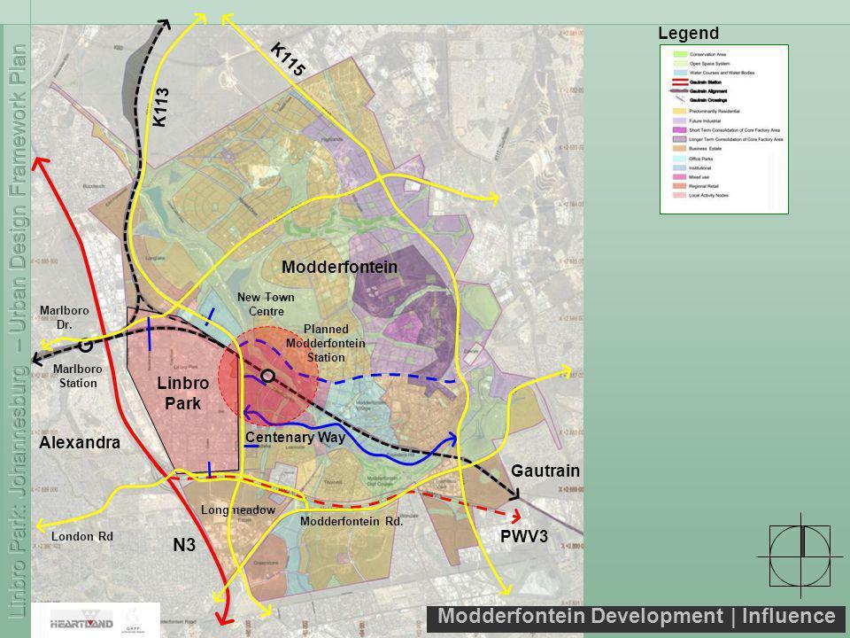 Modderfontein Development   Influence Linbro Park N3 PWV3 Modderfontein Marlboro Station Gautrain Legend Longmeadow London Rd Marlboro Dr.