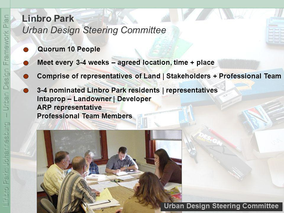 Urban Design Steering Committee Linbro Park Urban Design Steering Committee Quorum 10 People Meet every 3-4 weeks – agreed location, time + place Comprise of representatives of Land | Stakeholders + Professional Team 3-4 nominated Linbro Park residents | representatives Intaprop – Landowner | Developer ARP representative Professional Team Members