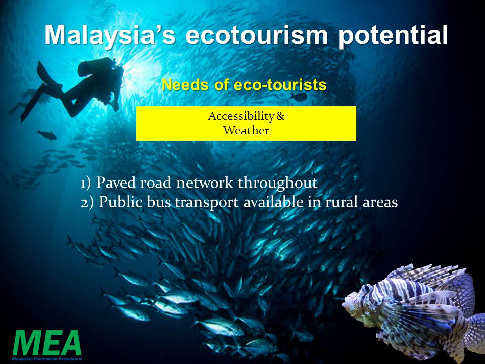 Accessibility & Weather 1) Paved road network throughout 2) Public bus transport available in rural areas Malaysias ecotourism potential Needs of eco-