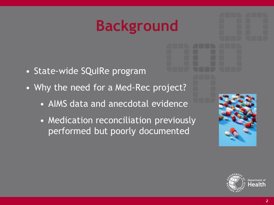 2 Background State-wide SQuIRe program Why the need for a Med-Rec project.