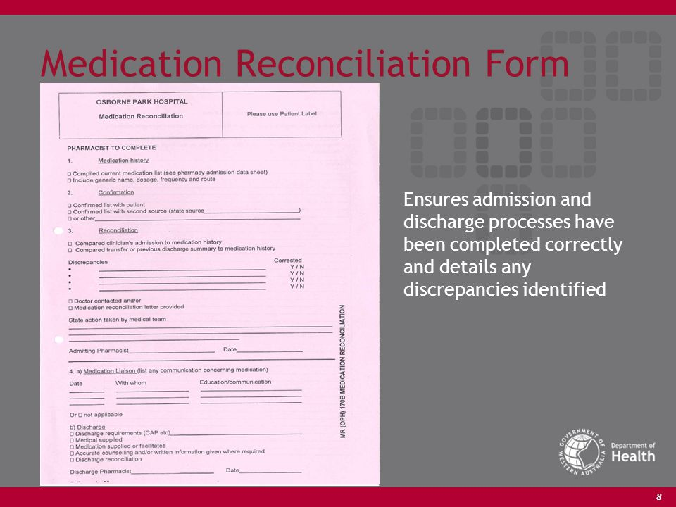 8 Medication Reconciliation Form Ensures admission and discharge processes have been completed correctly and details any discrepancies identified