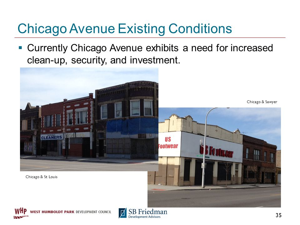Chicago Avenue Existing Conditions Currently Chicago Avenue exhibits a need for increased clean-up, security, and investment.