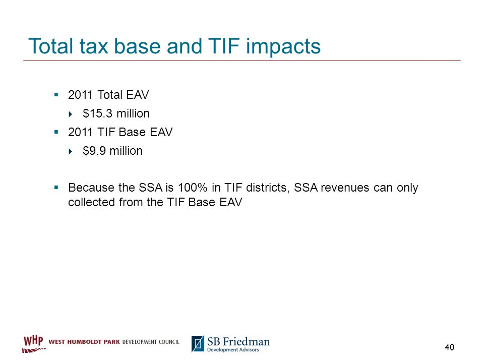 Total tax base and TIF impacts 2011 Total EAV $15.3 million 2011 TIF Base EAV $9.9 million Because the SSA is 100% in TIF districts, SSA revenues can only collected from the TIF Base EAV 40