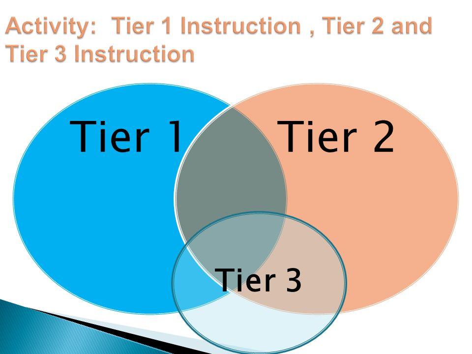 Tier 1Tier 2 Tier 3