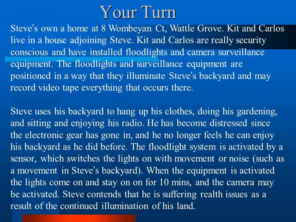 Your Turn Steves own a home at 8 Wombeyan Ct, Wattle Grove. Kit and Carlos live in a house adjoining Steve. Kit and Carlos are really security conscio