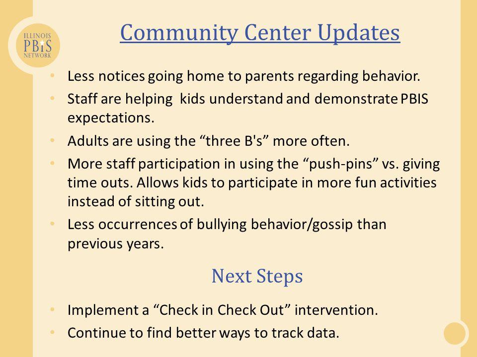 Community Center Updates Less notices going home to parents regarding behavior.