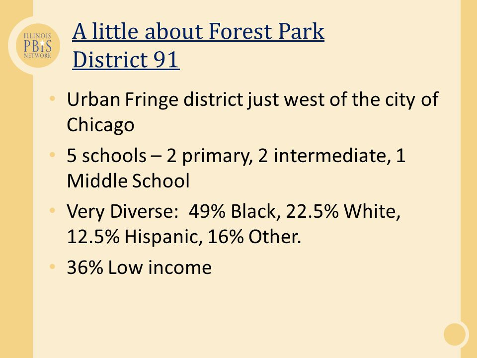 A little about Forest Park District 91 Urban Fringe district just west of the city of Chicago 5 schools – 2 primary, 2 intermediate, 1 Middle School Very Diverse: 49% Black, 22.5% White, 12.5% Hispanic, 16% Other.