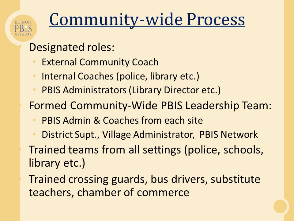 Community-wide PBIS Implementation Whose involved.
