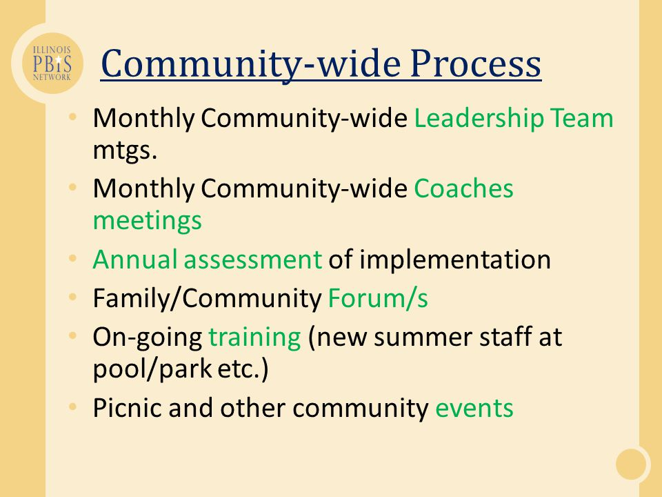 Community-wide Process Monthly Community-wide Leadership Team mtgs.