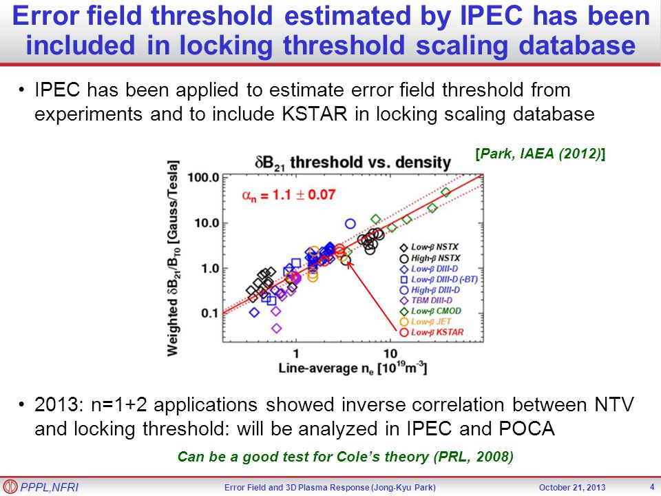 Error Field and 3D Plasma Response (Jong-Kyu Park)October 21, 2013 PPPL,NFRI Error field threshold estimated by IPEC has been included in locking threshold scaling database 4 IPEC has been applied to estimate error field threshold from experiments and to include KSTAR in locking scaling database 2013: n=1+2 applications showed inverse correlation between NTV and locking threshold: will be analyzed in IPEC and POCA Can be a good test for Coles theory (PRL, 2008) [Park, IAEA (2012)]