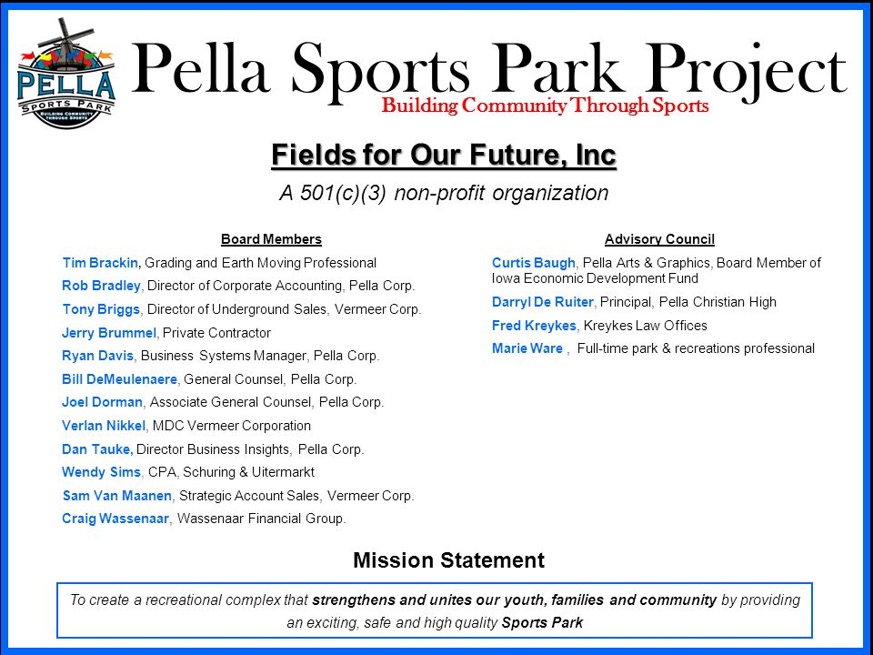 Pella Sports Park Project Building Community Through Sports