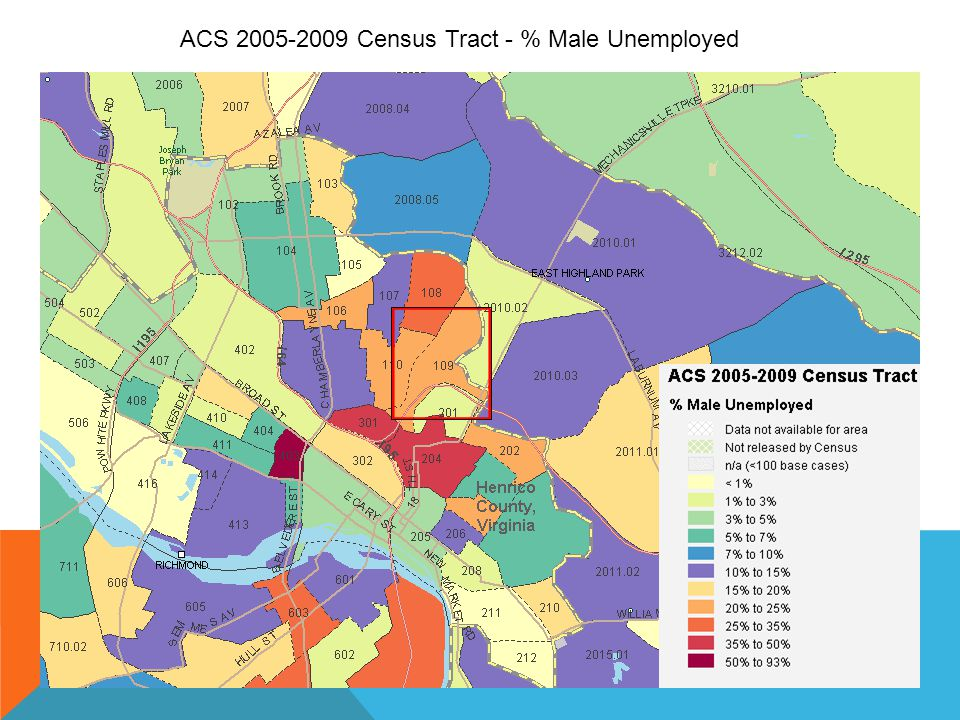 ACS 2005-2009 Census Tract - % Male Unemployed