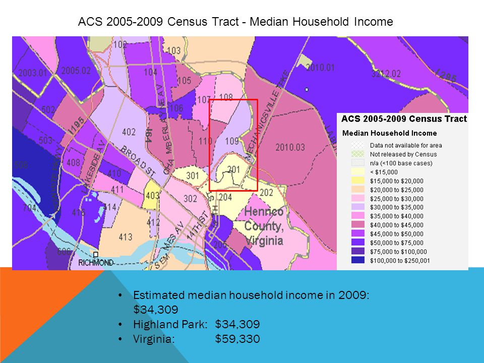 ACS 2005-2009 Census Tract - Median Household Income Estimated median household income in 2009: $34,309 Highland Park:$34,309 Virginia:$59,330