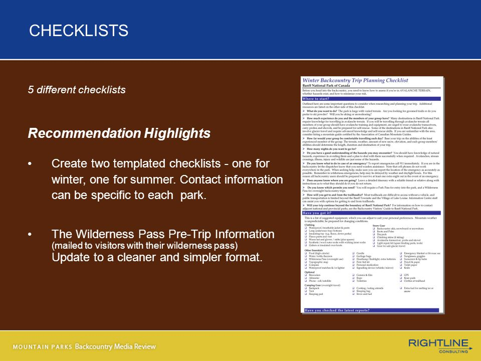 5 different checklists Recommendation Highlights Create two templated checklists - one for winter, one for summer.