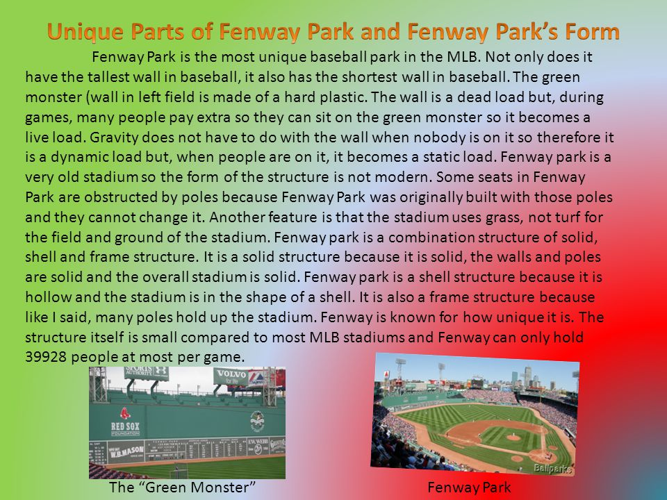 Fenway Park is the most unique baseball park in the MLB.