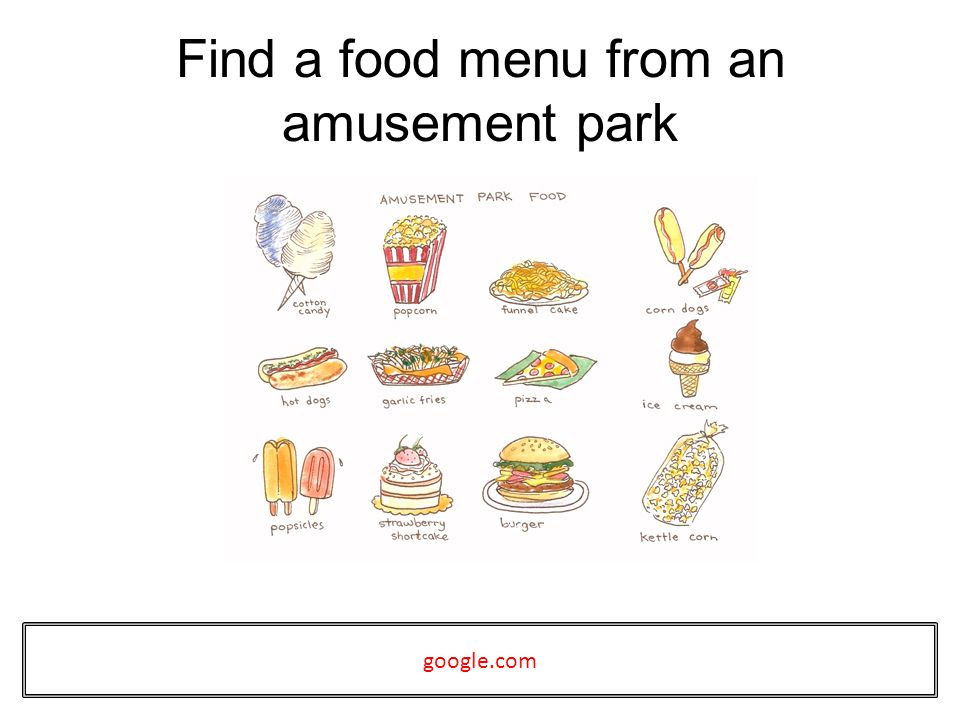 Find a food menu from an amusement park google.com