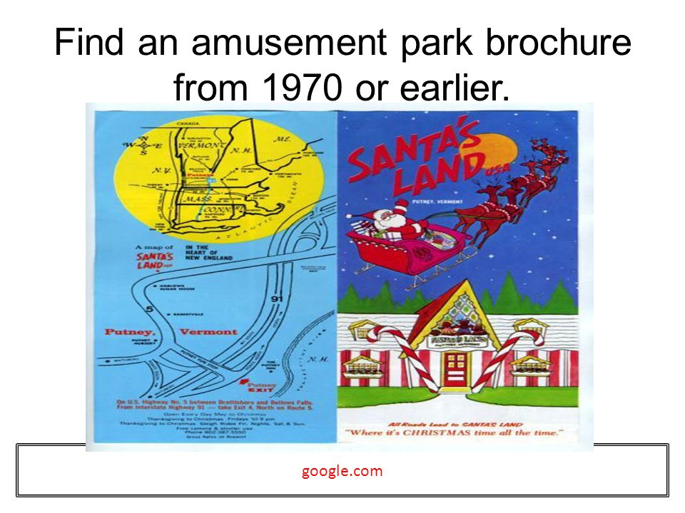 Find an amusement park brochure from 1970 or earlier. google.com