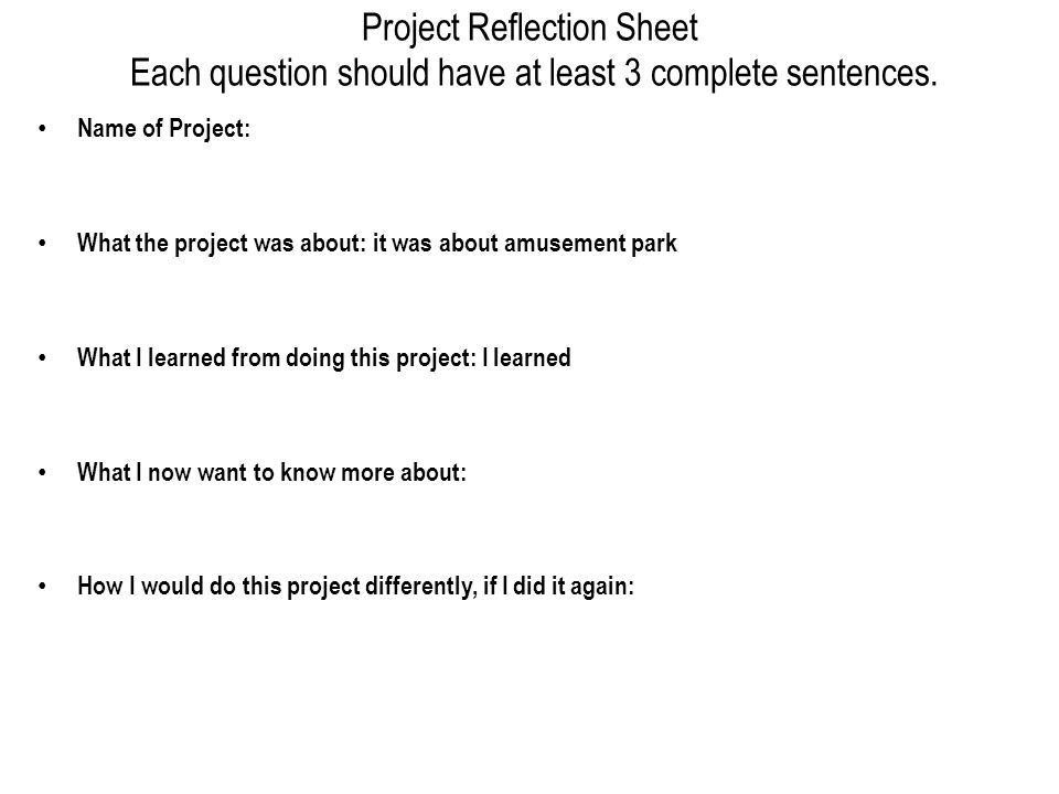 Project Reflection Sheet Each question should have at least 3 complete sentences.