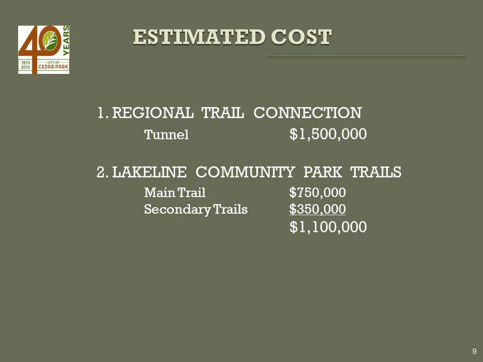 1. REGIONAL TRAIL CONNECTION Tunnel $1,500,