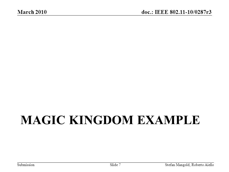 doc.: IEEE 802.11-10/0287r3 Submission MAGIC KINGDOM EXAMPLE March 2010 Stefan Mangold, Roberto AielloSlide 7