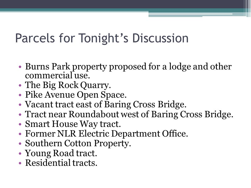 Parks and Recreation General Information Presented by Vicki Stephens, NLR Parks & Recreation Commission