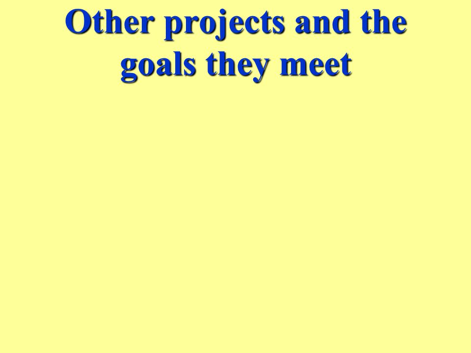 Other projects and the goals they meet