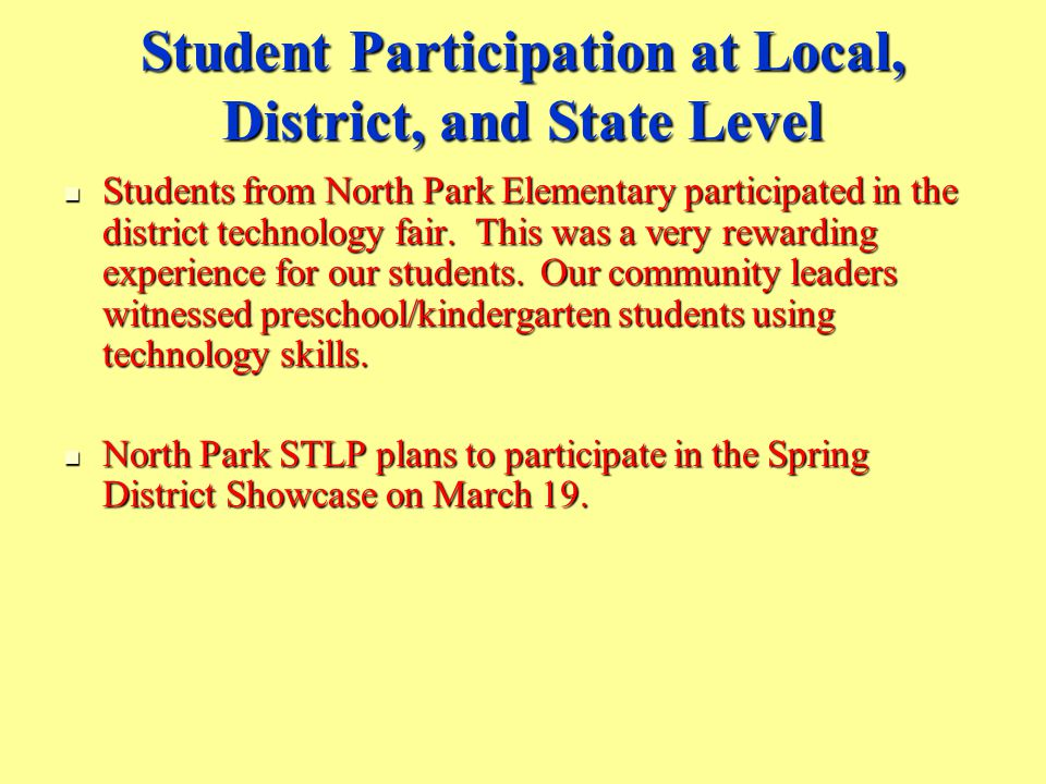 Student Participation at Local, District, and State Level Students from North Park Elementary participated in the district technology fair.