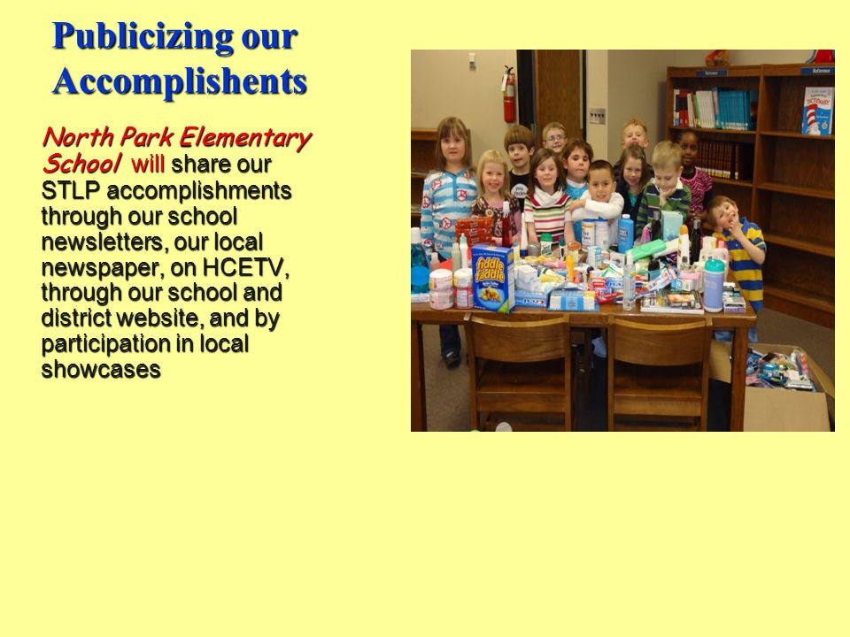 Publicizing our Accomplishents North Park Elementary School will share our STLP accomplishments through our school newsletters, our local newspaper, on HCETV, through our school and district website, and by participation in local showcases