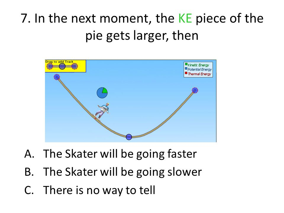 7. In the next moment, the KE piece of the pie gets larger, then A.The Skater will be going faster B.The Skater will be going slower C.There is no way