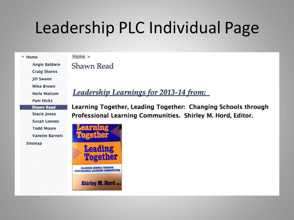 Leadership PLC Individual Page