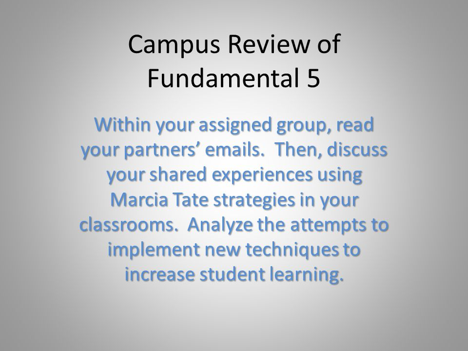 Campus Review of Fundamental 5 Within your assigned group, read your partners emails.