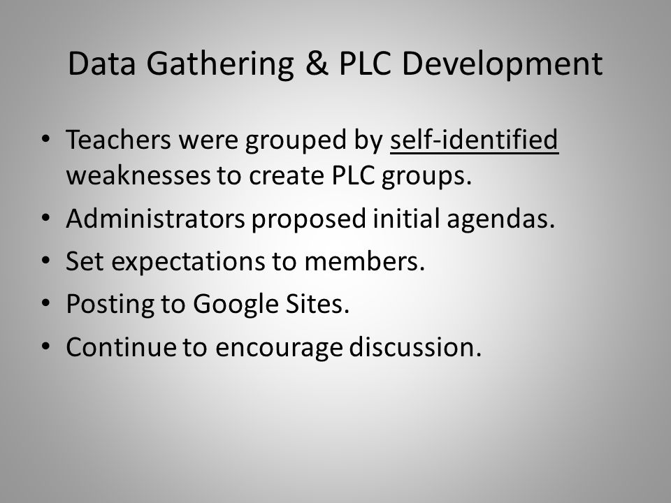 Data Gathering & PLC Development Teachers were grouped by self-identified weaknesses to create PLC groups.