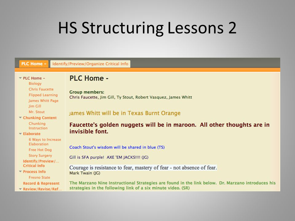 HS Structuring Lessons 2
